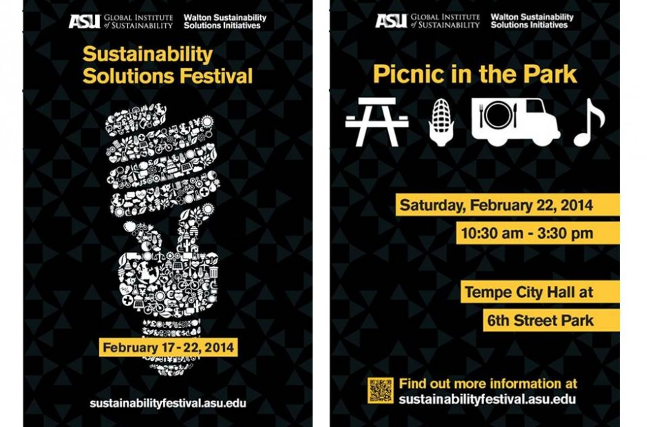 Poster announcement design for the ASU Sustainability Solutions Festival