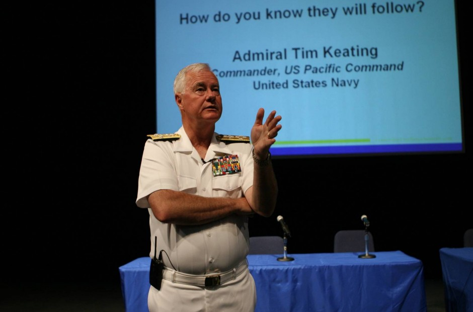 Admiral Tim Keating speaking at the US Naval Leadership Conference
