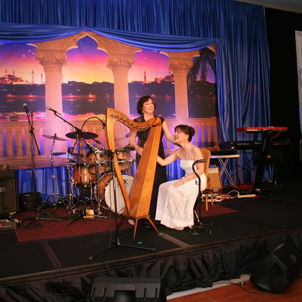 Harpist playing at the Make-A-Wish Ball