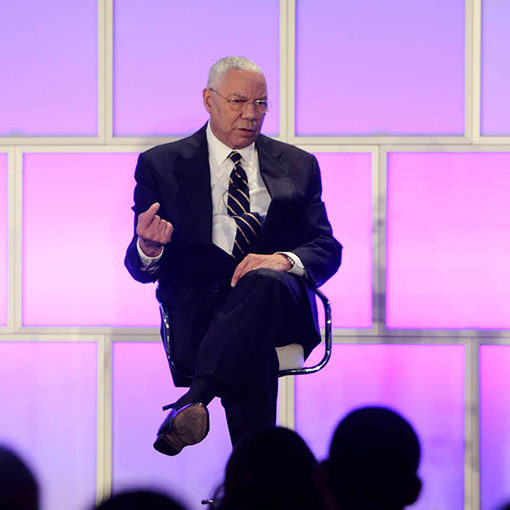 colin powell on event stage